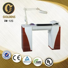 wooden nail table with vacuum for salon