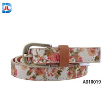 Fashion floral painted Stitching skinny belt