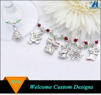 Christmas Item Wine Glass Charms, Silver Jewelry Christmas Tree Sock Deer Snowflake Santa Clause Charm