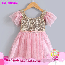 Hot sales wholesale girls party dresses solid pink sequin decorates dress
