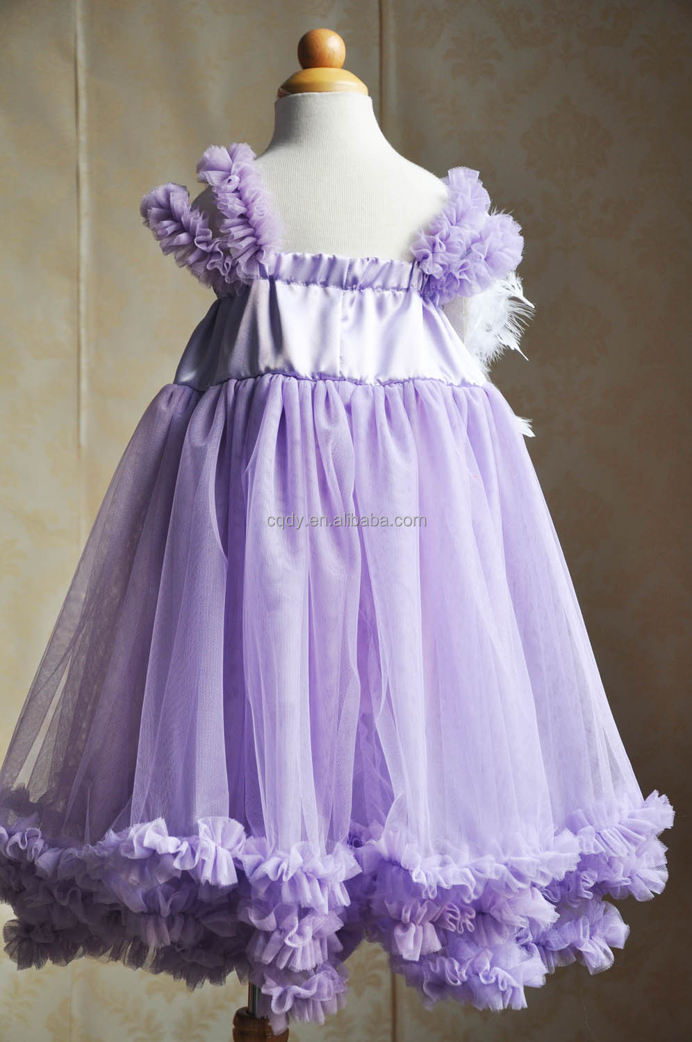 Purple Tulle Party Dress With Feather Head Band,Cinderella-dresses ...
