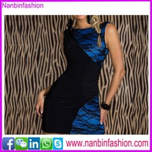 Special design of v back blue and black dress design