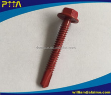 DIN7504 Hex Washer Head Self Drilling Screw with Painted Coating, PTTA Marked On Head