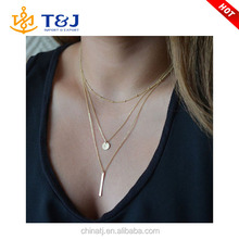 2015 Women's Fashion Jewelry Colar European Simple Gold Silver Plated Multi Layers Bar Coin Necklace Clavicle Chains Charm