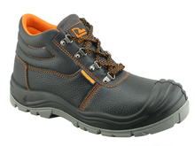 safety steel toe boots PU injection sole dual density Chinese leather steel toe and steel plate 2015 new style