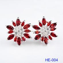 2016 Hot Selling Fashion Custom Multi-colors Women Flower Gold 925 Sterling Silver Earrings Design for Girls