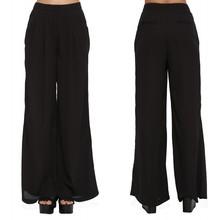 Custom Design ladies long Pleated Black Pants Wide Leg Casual Pants