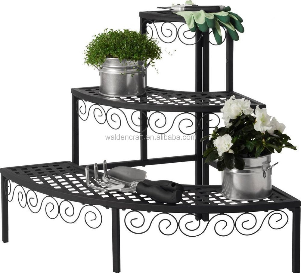 Outdoor garden wire plant stand 3 tier end cap metal flower pot stand buy 3 tier metal flower - Tier plant stand outdoor ...