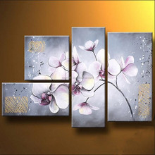 2015 New and Ppopular Item Handmade Group Orchids Oil Paintings on Canvas