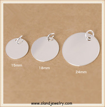 Size customized round disc sterling silver engravable pendant made in China