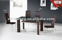Modern restaurant glass dining tables and chairs A2088-P9050-P9051