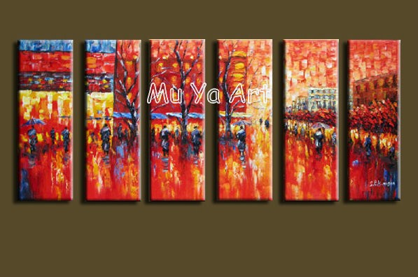 Buy Large 6 muti panel Abstract modern canvas wall art  Palette Knife  handmade oil painting on canvas living room home decoration cheap