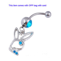 Cute Rabbit Dangle Blue Crystal Belly Button Rings Body Piercing
