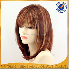Most fashionable short bob style brazilian human hair red highlights wigs