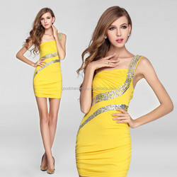 Party demitoilet Single shoulder Halter slim skirt Sexy Sequin package hip women's dress