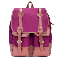 Fashion vintage washed cotton Canvas for herschel Backpack with leather trim in customize style Wholesale