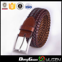 Same One Tone Fashion All Braided Brown Leather Belt