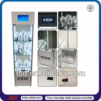 TSD-W207 LCD screen & LED light available floor standing wholesale inox jewelry display showcase