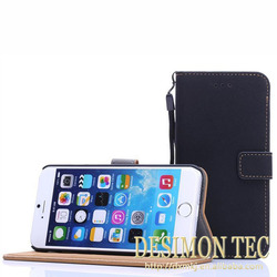 hand held case cover for iPhone 6 wallet leather PU hot selling black LOGO custom