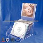 Visor de vidro balcão, bandeja acrílica armazenamento CD, contador