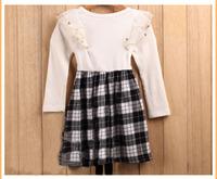 Spring New Arrival Cute Warm Kids Dress O-Neck Plaid Girls Dress Long Sleeve Kids Wear Wholesale GD81108-81
