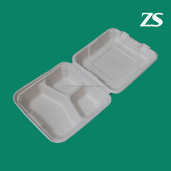 disposable sugarcane pulp food container 10 inch 3 section food container
