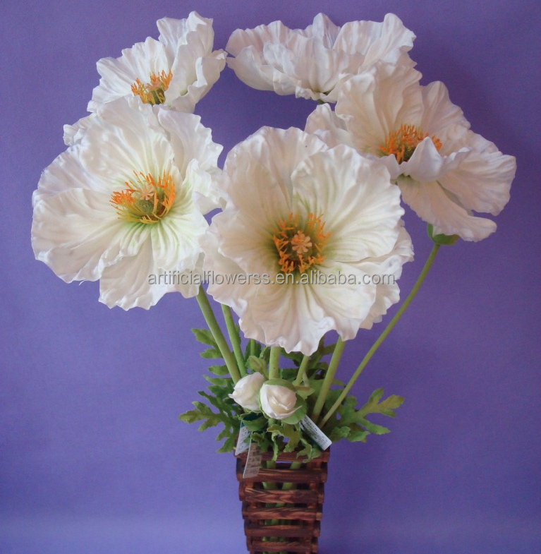 Home Decor Flowers China Supplier Artificial White Pu Pansy