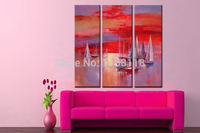 3 Panel decorative art set modern wall art seascape abstract Ships on red sea sunset glow hand painted Canvas Oil Painting