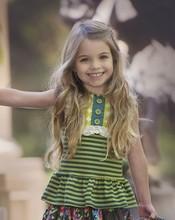 custom children clothes high quality fashion strip green kids girls t shirt