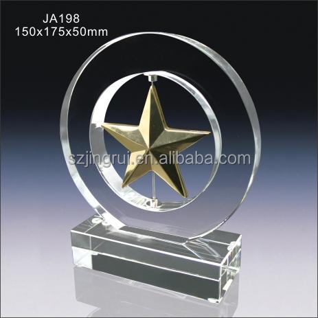 Unique design crystal me<em></em>tal star award trophy JA198