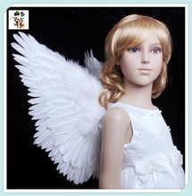 Childrens Party Fancy Dress Mini Small White Feather Angel Wings HPC-1760
