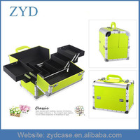 Shiny Yellowish Green Makeup Case Mini Aluminum Makeup Train Case ZYD-HZ101512
