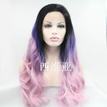 2015 hot ombre party wig purple highlight wig synthetic lace front wig