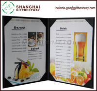 Price competitive wholesale high quality a4 leather menu cover, restaurant menus book, leatherette menu book