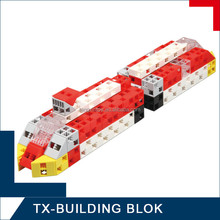 assemble train block set for kids