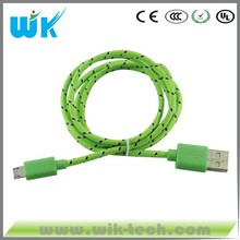 Colorful high quality Durable Nylon braided micro usb cable for smartphone