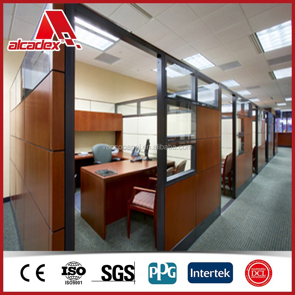 Office partition aluminium composite panel interior wood for Aluminium composite panel interior decoration