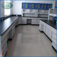 Modern steel and wood side table /side bench for laboratory furniture