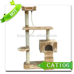Luxury cat tree furniture beige sisal cat scratcher