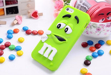 High Quality 3D Cute Rainbow Beans M&M Silicon case For iphone5g,New arrivals Lovely Chocolate For iphone 5 5s 5G 6 6p