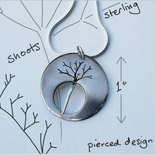 Stainless Steel Silver Jewelry Oxidised Necklace Midnight Tree