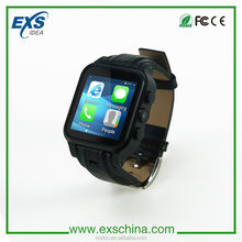 Low price china mobile phone Android digital wifi smart watch with camera big display touch screen leather strap for Men watch