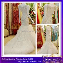 High Quality Custom Made White Sheath Boat Neck Keyhole Back Beaded Bodice Ruffle Tulle Skirt Real Wedding Dress Train (AB0350)