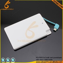 Newest Promotional Portable Ultra Slim Credit Card Power Bank for Iphone 2500mAh with Built-in USB Line
