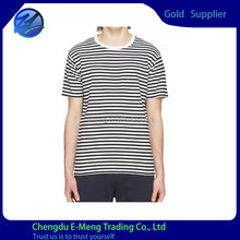 Hot Selling New Design Top Quality O-neck Men Plain Strip T shirt