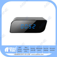 Fashionable portable 720p hd wifi mini night vision table clock cam with motion detection/bluetooth cctv cameras