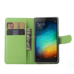 High quality lychee pu leather case with wallet and card slots for xiaomi mi4c case china wholesale