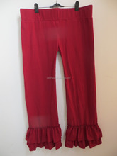 2015Hot Sale!Ladies Wear Garment Women Knit Cotton Pants Wholesale Ruffle Bottom Pants QL-204