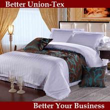 Cotton white 300T sateen stripe king size hotel quilt set, quilt cover set