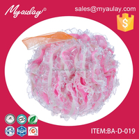 2015 High quality The Most Beautiful Pink Mesh Puff Ball for see-through lace BA-D-019